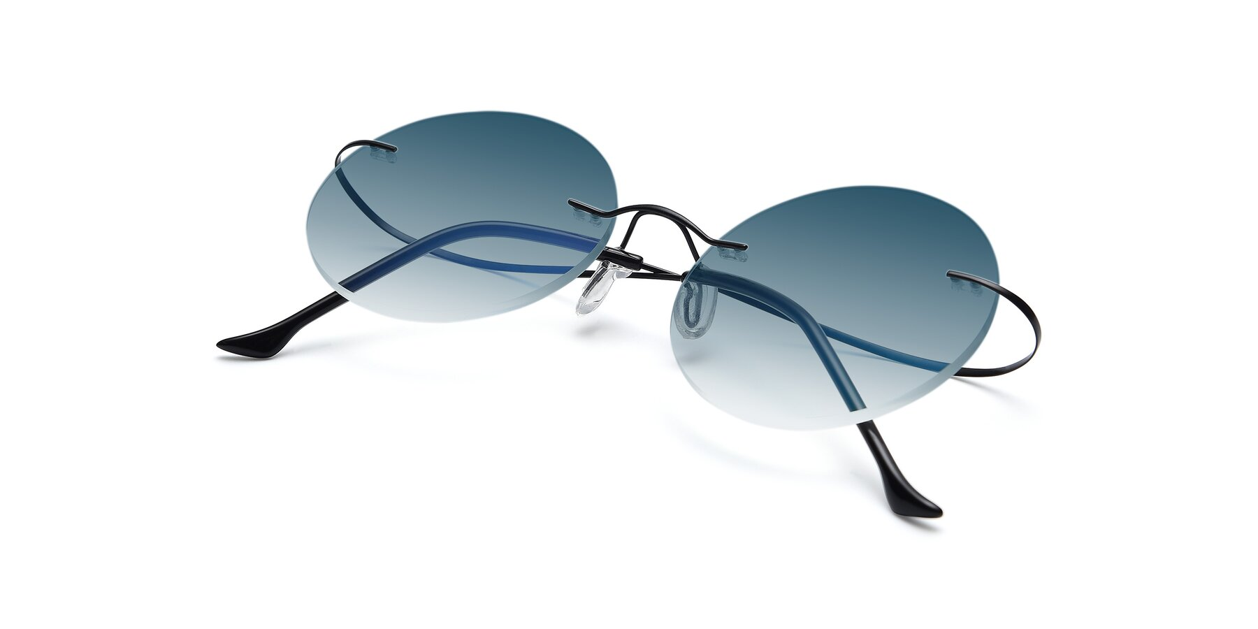 View of Artist in Black with Blue Gradient Lenses