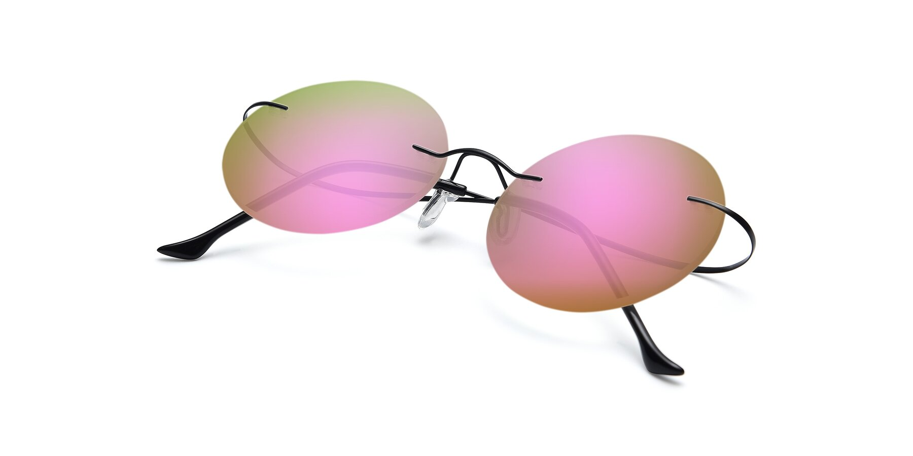 View of Artist in Black with Pink Mirrored Lenses