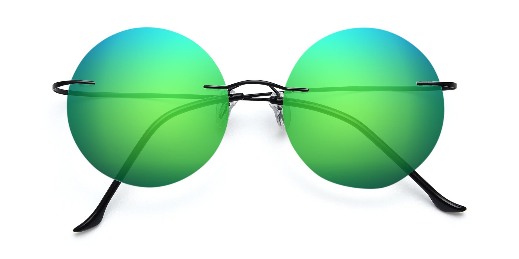 Folded Front of Artist in Black with Green Mirrored Lenses