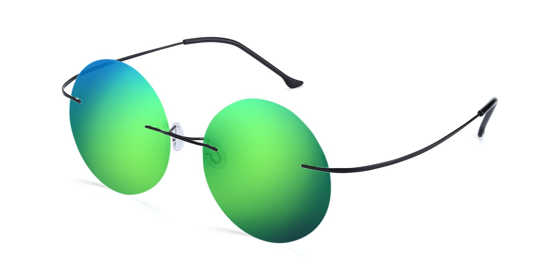 Angle of Artist in Black with Green Mirrored Lenses