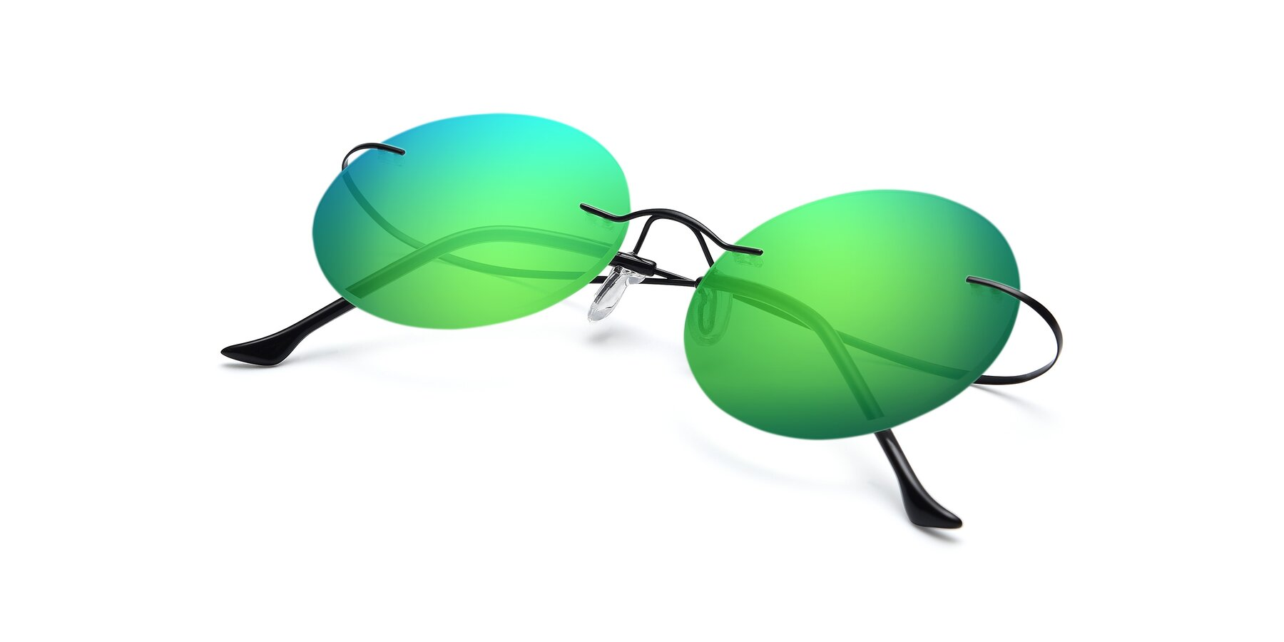 View of Artist in Black with Green Mirrored Lenses