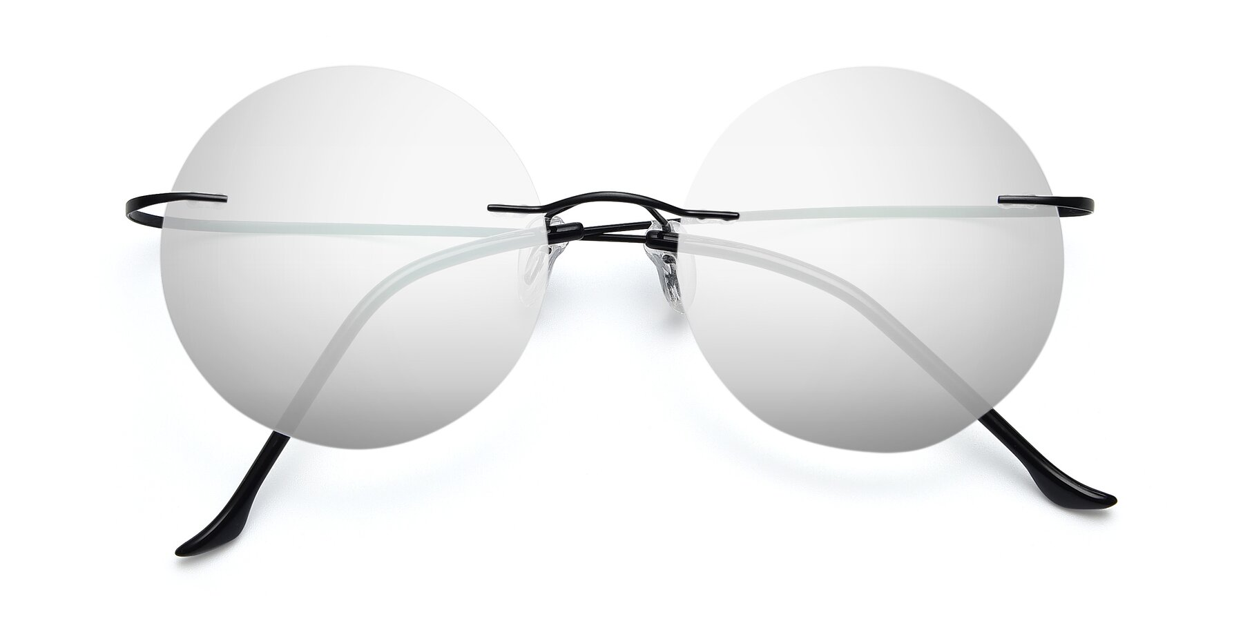 Folded Front of Artist in Black with Silver Mirrored Lenses
