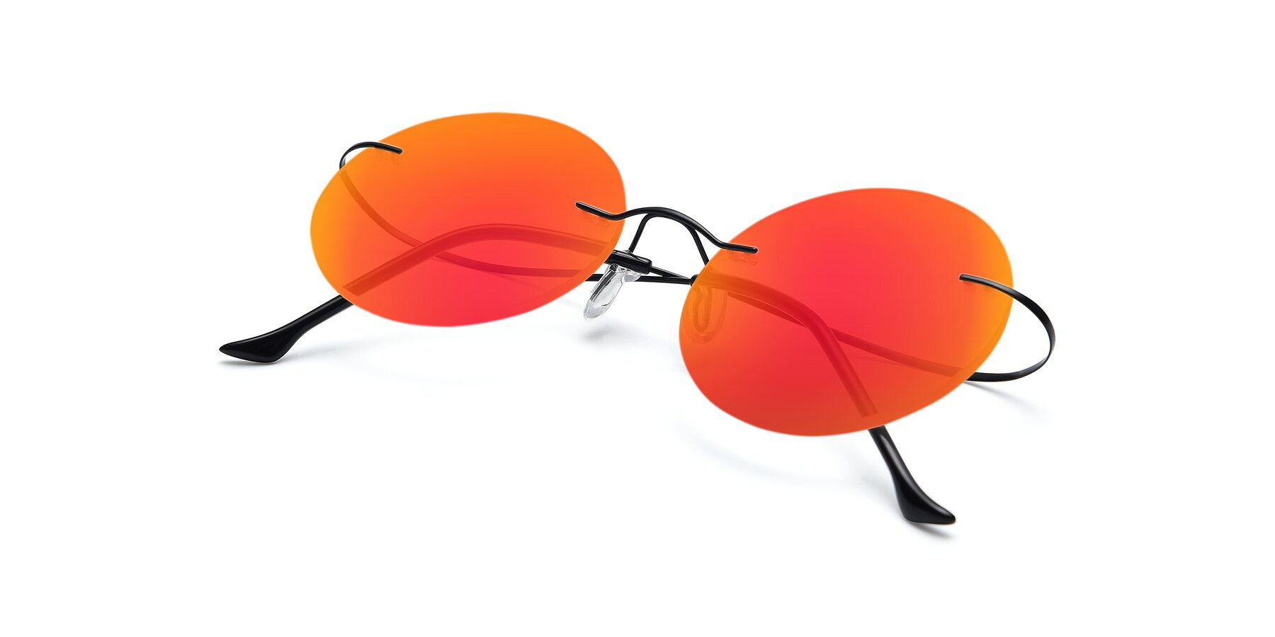 View of Artist in Black with Red Gold Mirrored Lenses