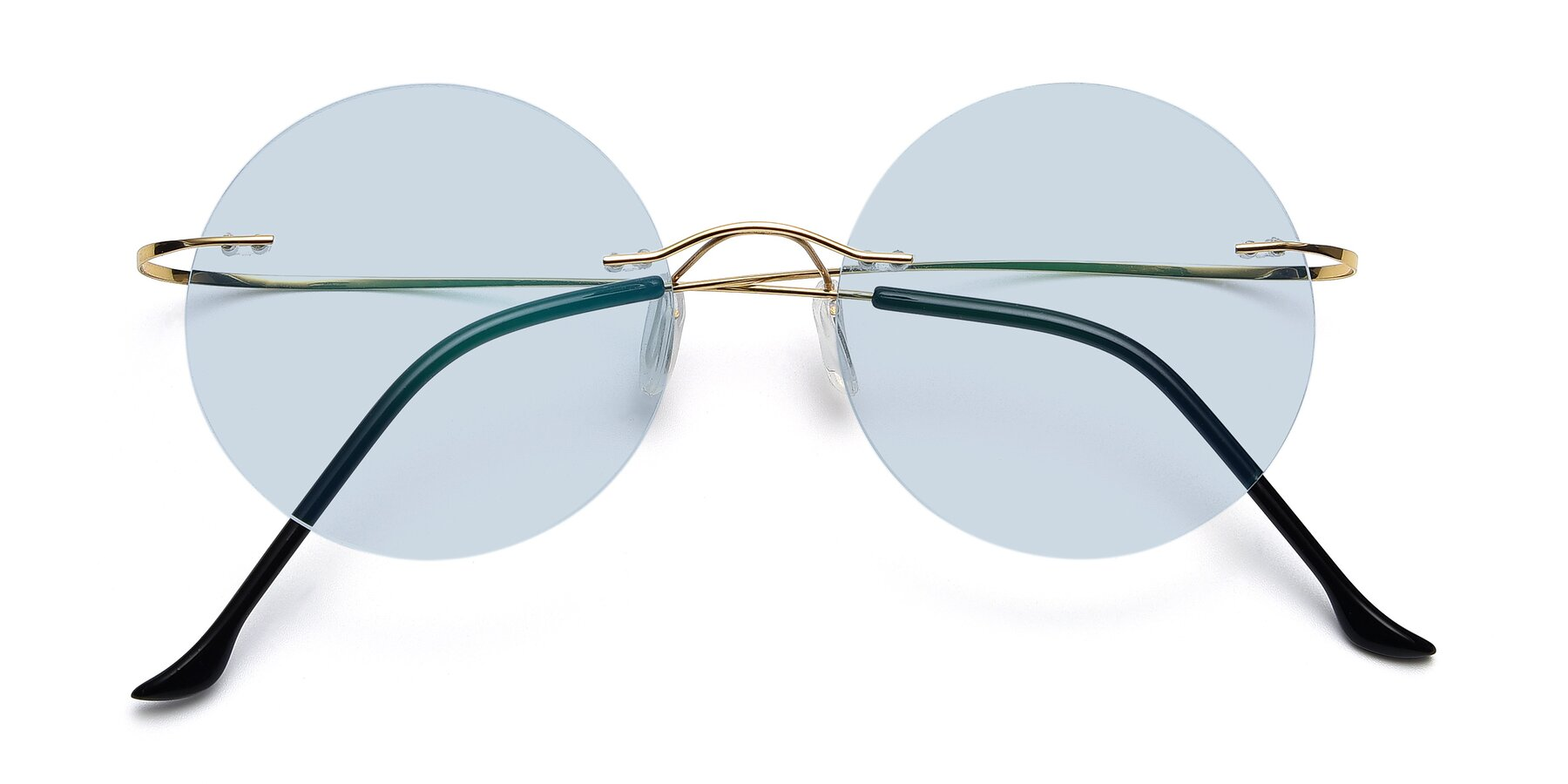 Folded Front of Artist in Gold with Light Blue Tinted Lenses