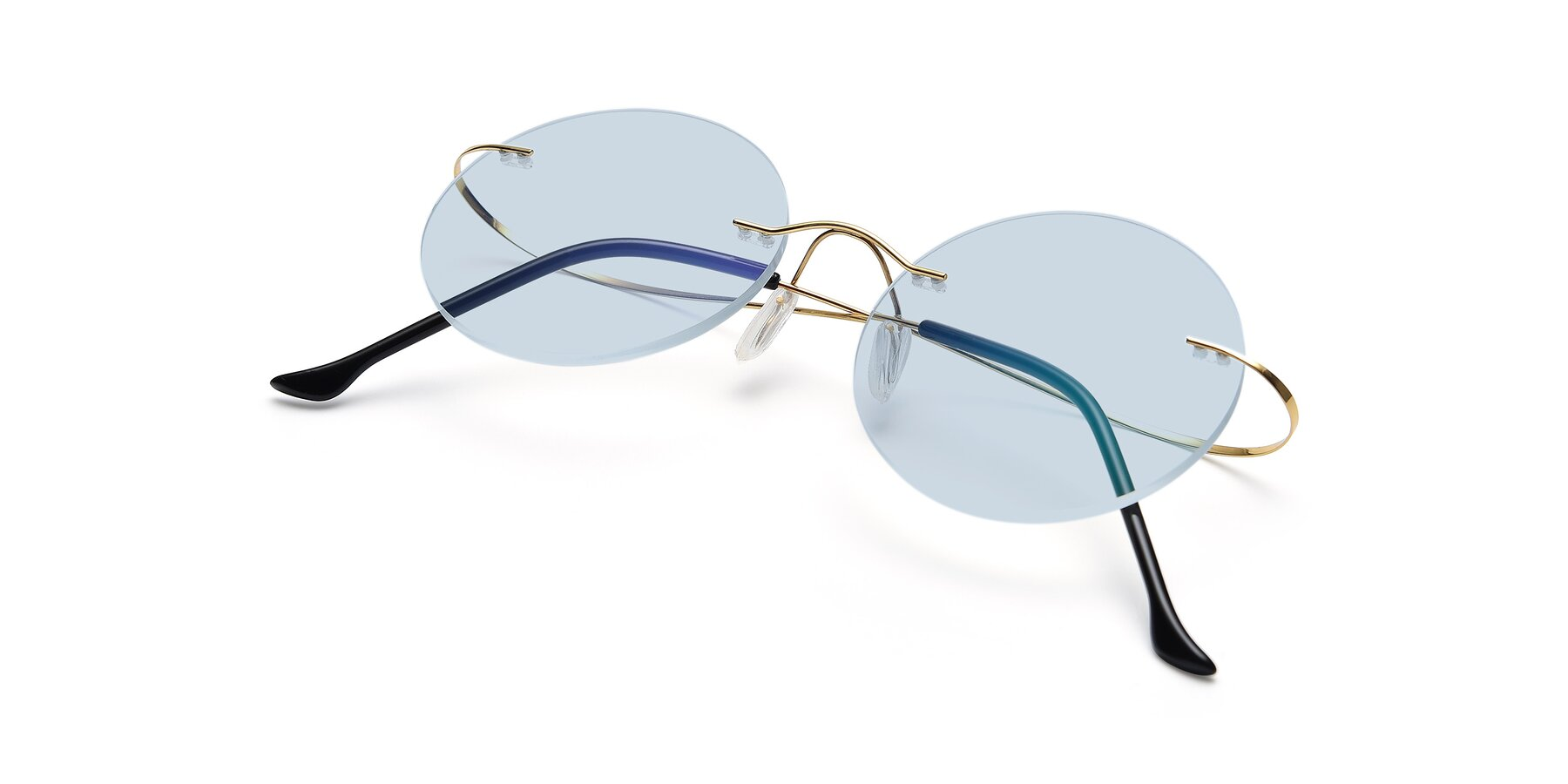View of Artist in Gold with Light Blue Tinted Lenses