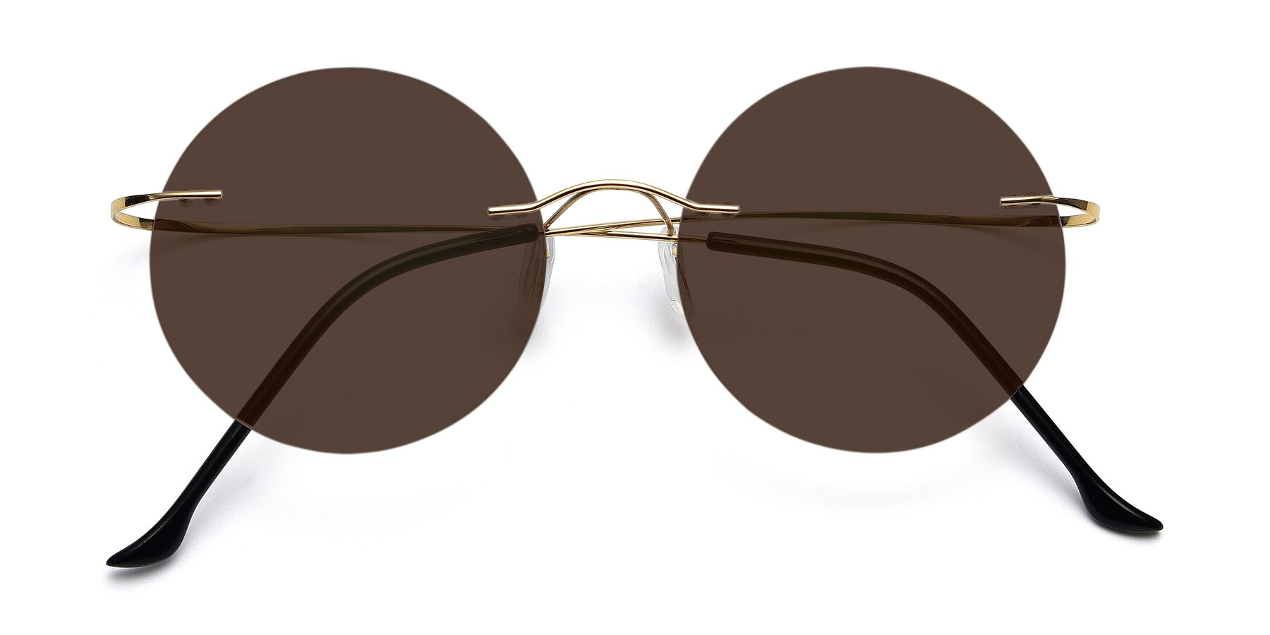 Folded Front of Artist in Gold with Brown Tinted Lenses