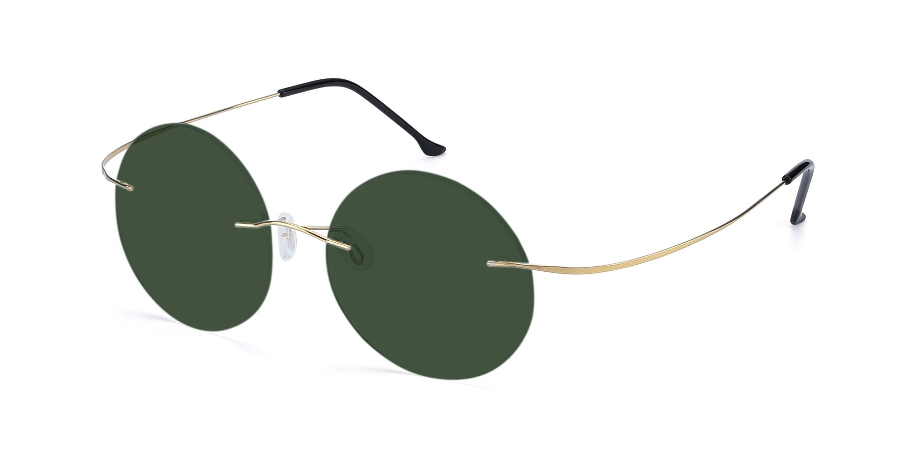 Angle of Artist in Gold with Green Tinted Lenses