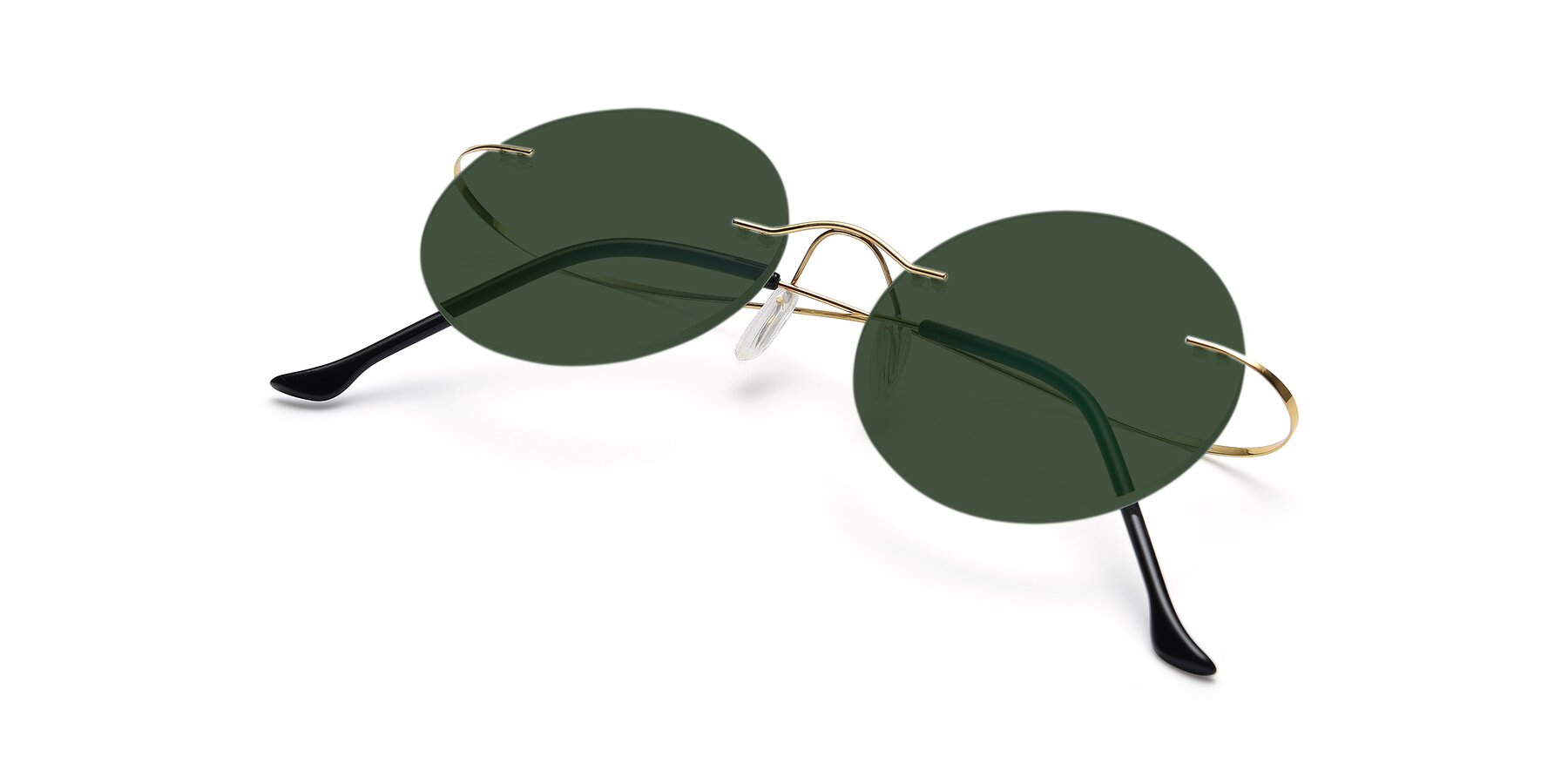 View of Artist in Gold with Green Tinted Lenses