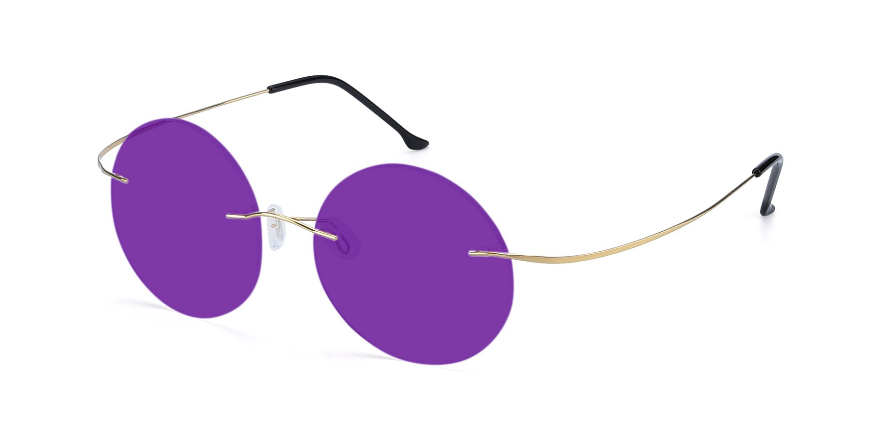Angle of Artist in Gold with Purple Tinted Lenses