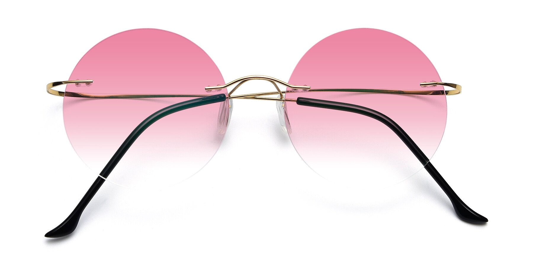 Folded Front of Artist in Gold with Pink Gradient Lenses
