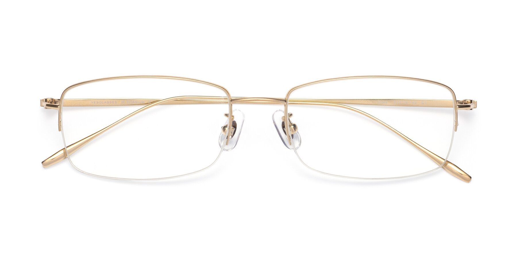 Folded Front of Duke in Gold with Clear Eyeglass Lenses