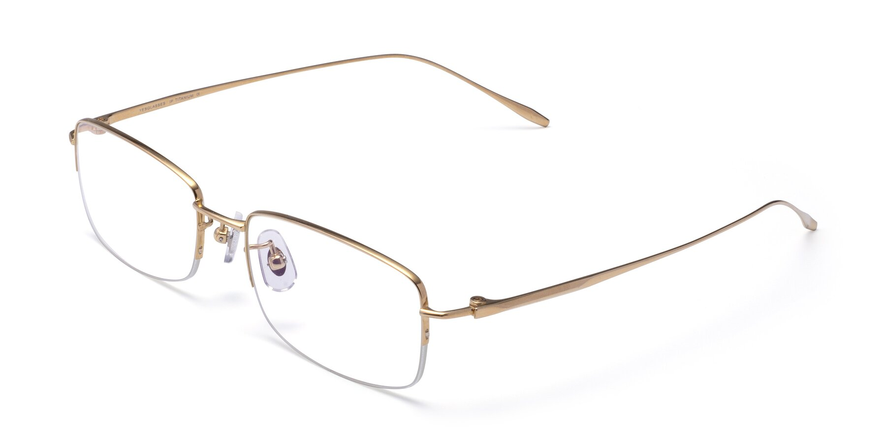 Angle of Duke in Gold with Clear Eyeglass Lenses