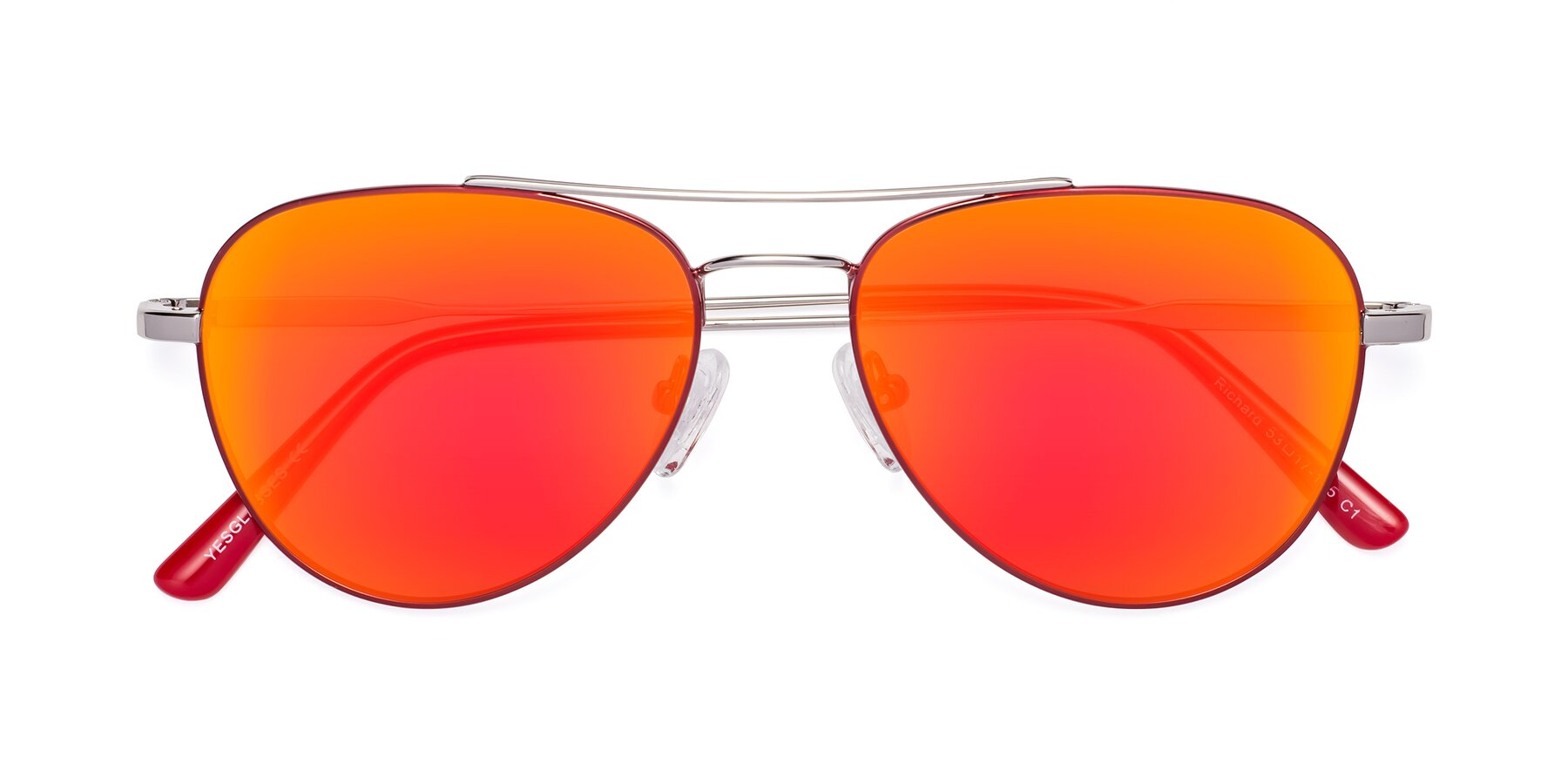 Folded Front of Richard in Red-Silver with Red Gold Mirrored Lenses