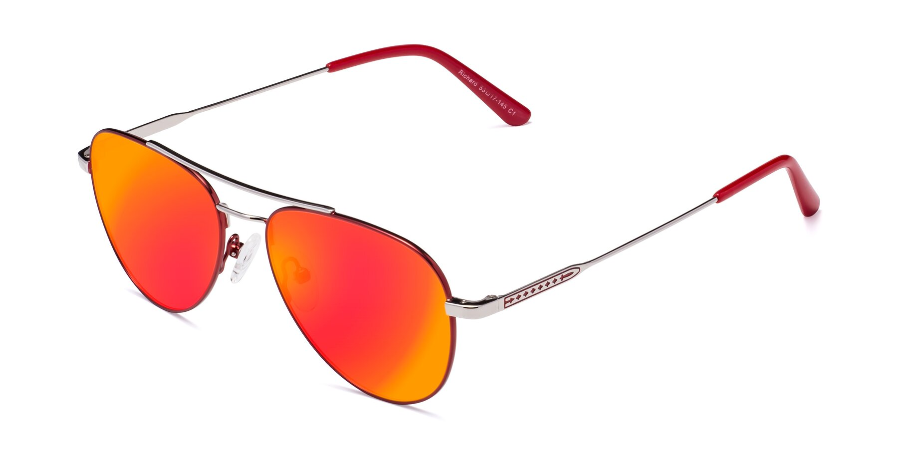 Angle of Richard in Red-Silver with Red Gold Mirrored Lenses