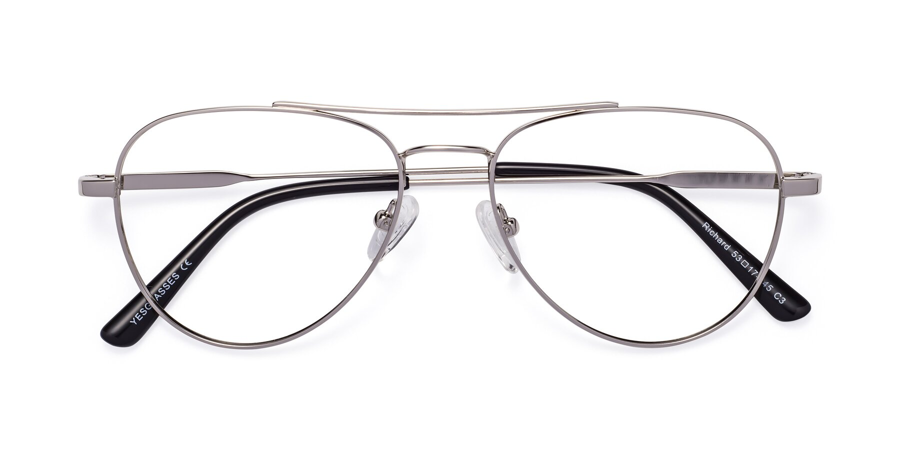 Folded Front of Richard in Silver with Clear Eyeglass Lenses