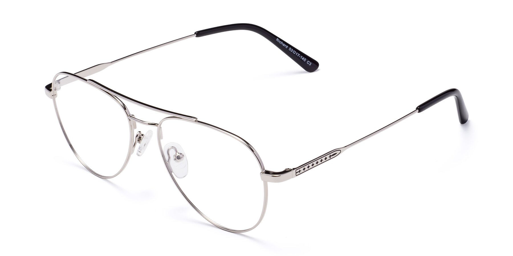 Angle of Richard in Silver with Clear Eyeglass Lenses