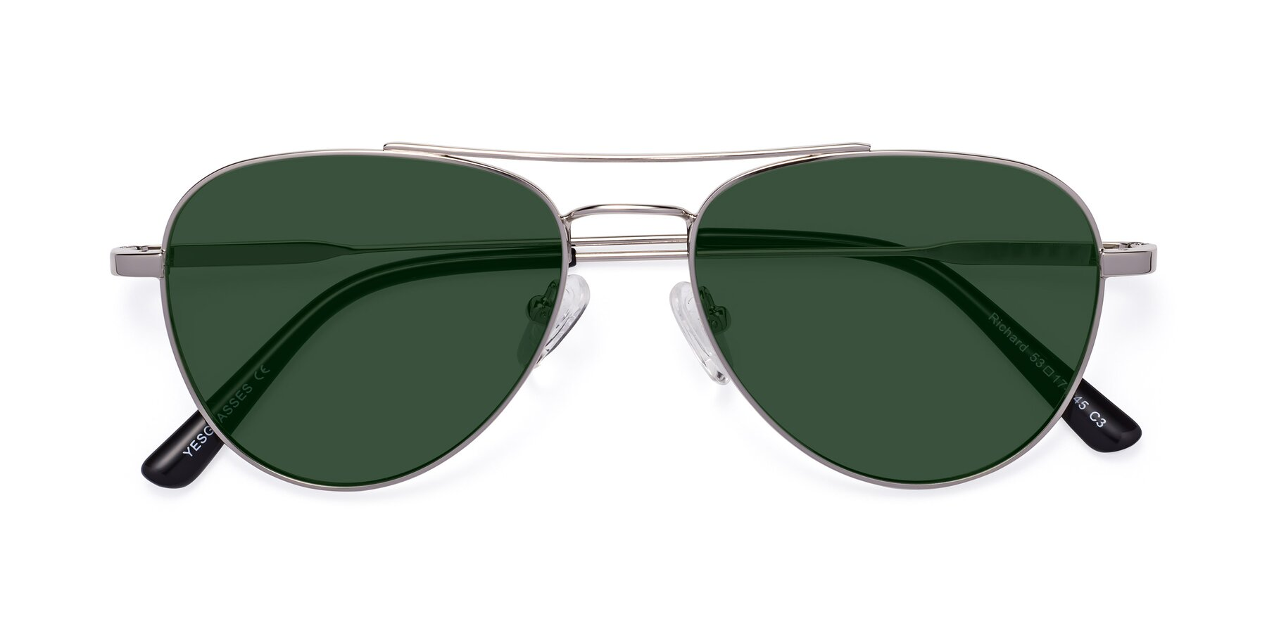 Folded Front of Richard in Silver with Green Tinted Lenses