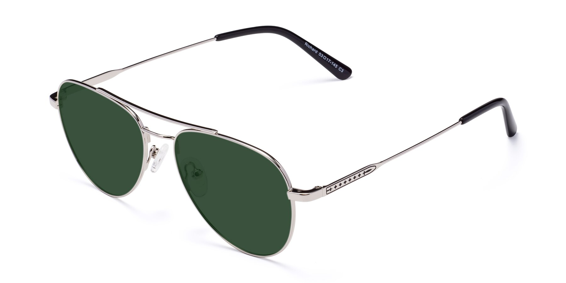Angle of Richard in Silver with Green Tinted Lenses