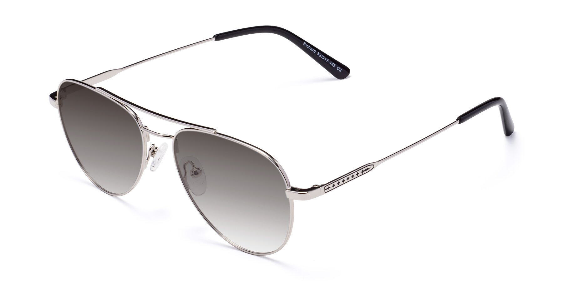 Angle of Richard in Silver with Gray Gradient Lenses