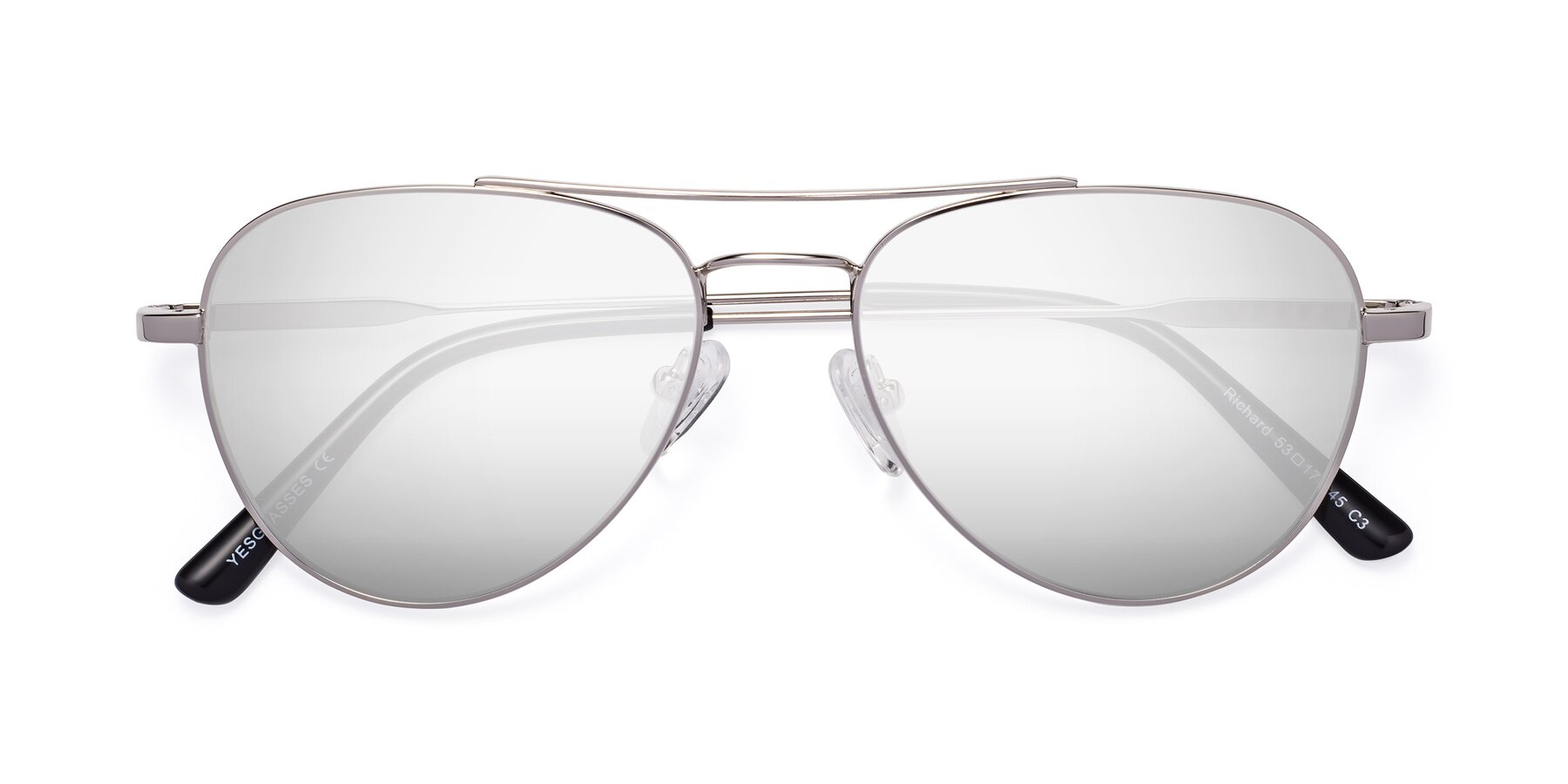 Folded Front of Richard in Silver with Silver Mirrored Lenses