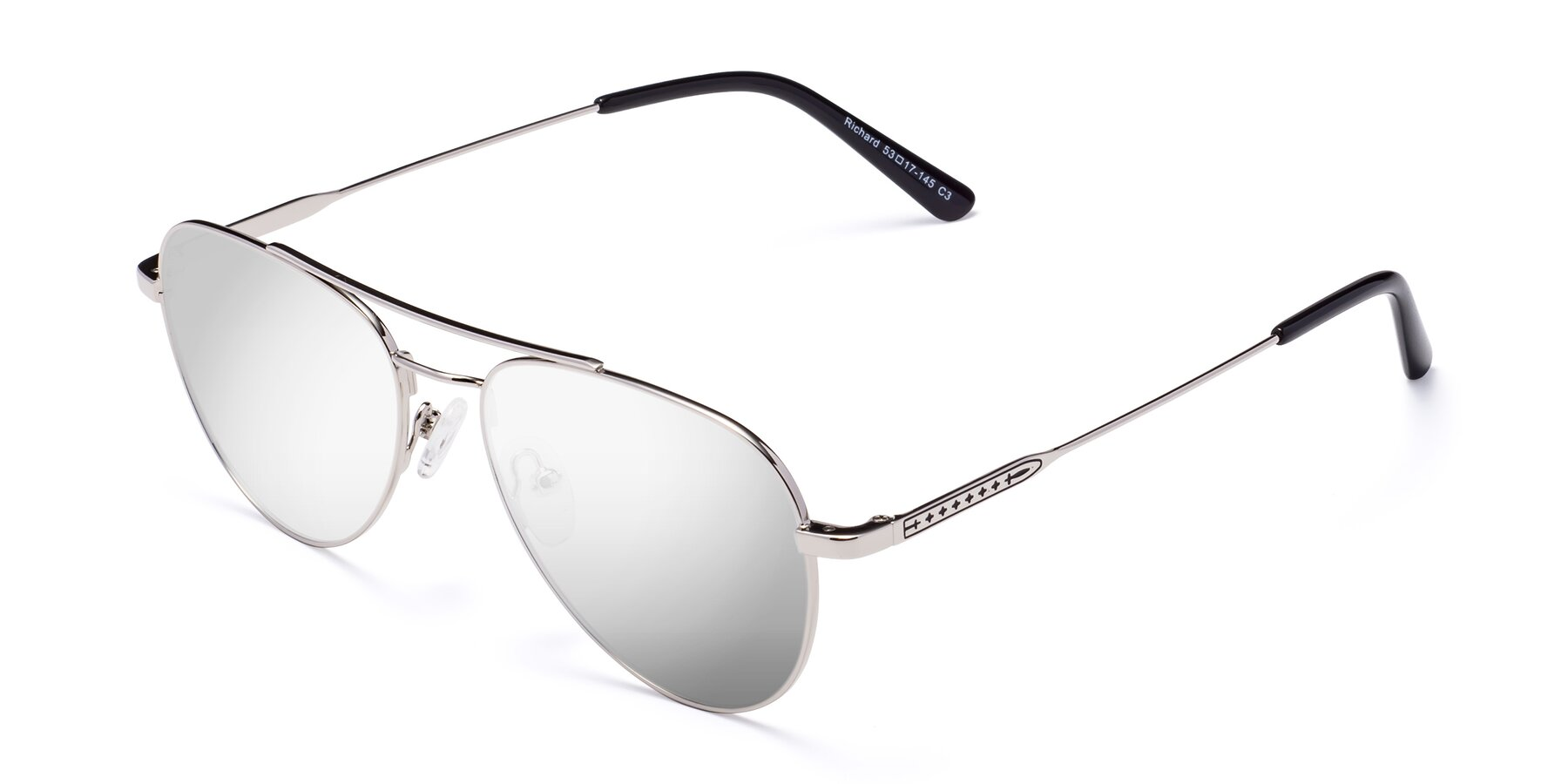 Angle of Richard in Silver with Silver Mirrored Lenses