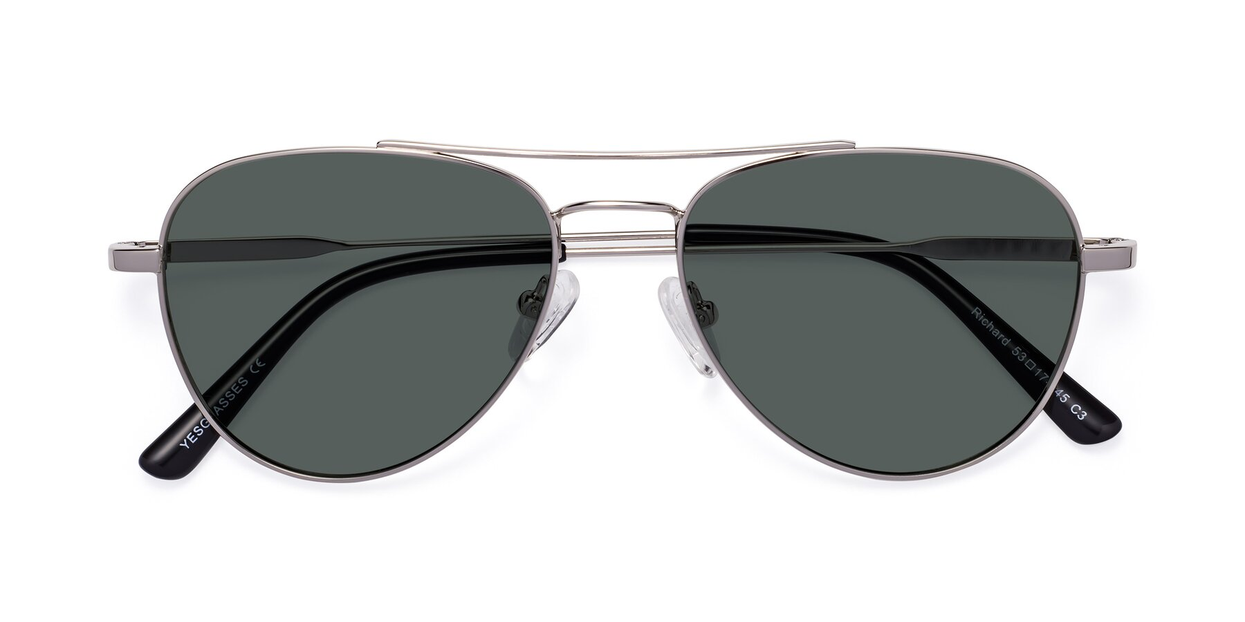 Folded Front of Richard in Silver with Gray Polarized Lenses