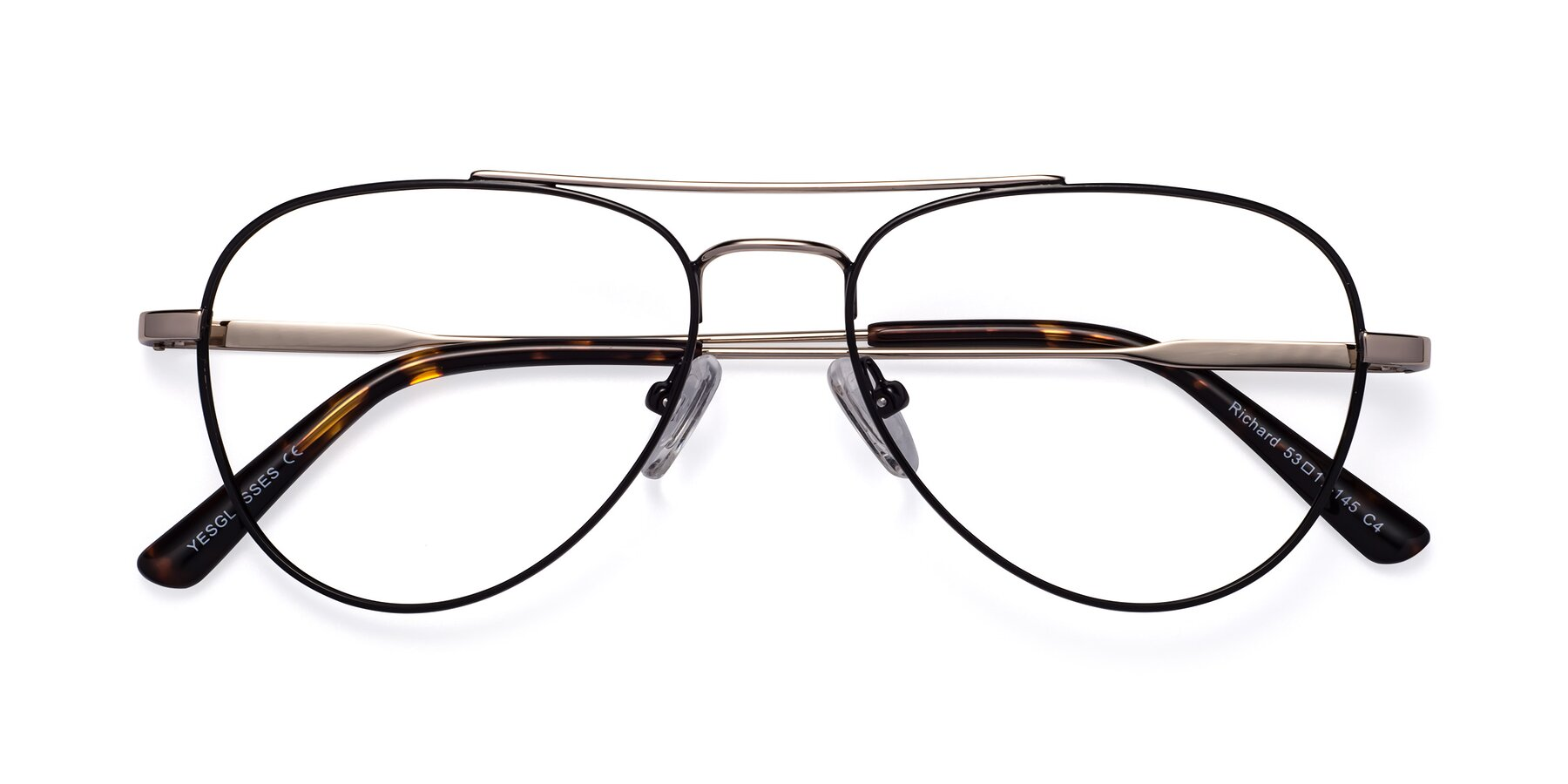 Folded Front of Richard in Black-Gold with Clear Eyeglass Lenses