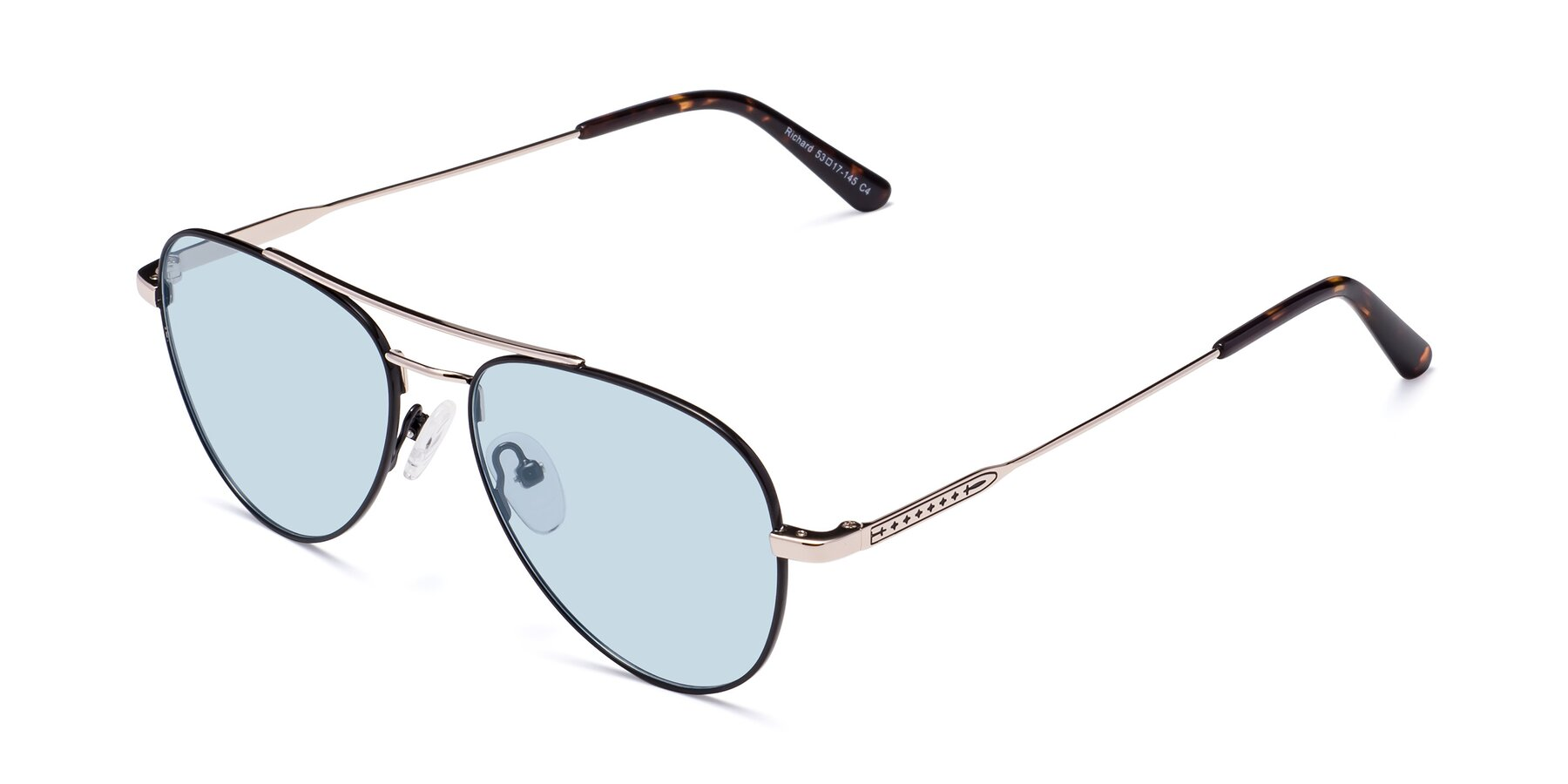 Angle of Richard in Black-Gold with Light Blue Tinted Lenses