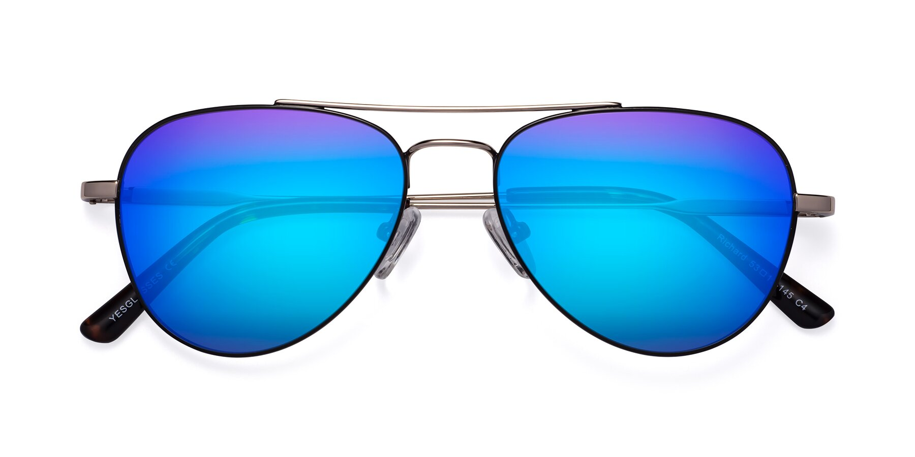 Folded Front of Richard in Black-Gold with Blue Mirrored Lenses