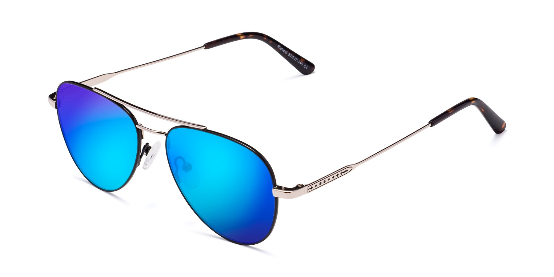 Angle of Richard in Black-Gold with Blue Mirrored Lenses