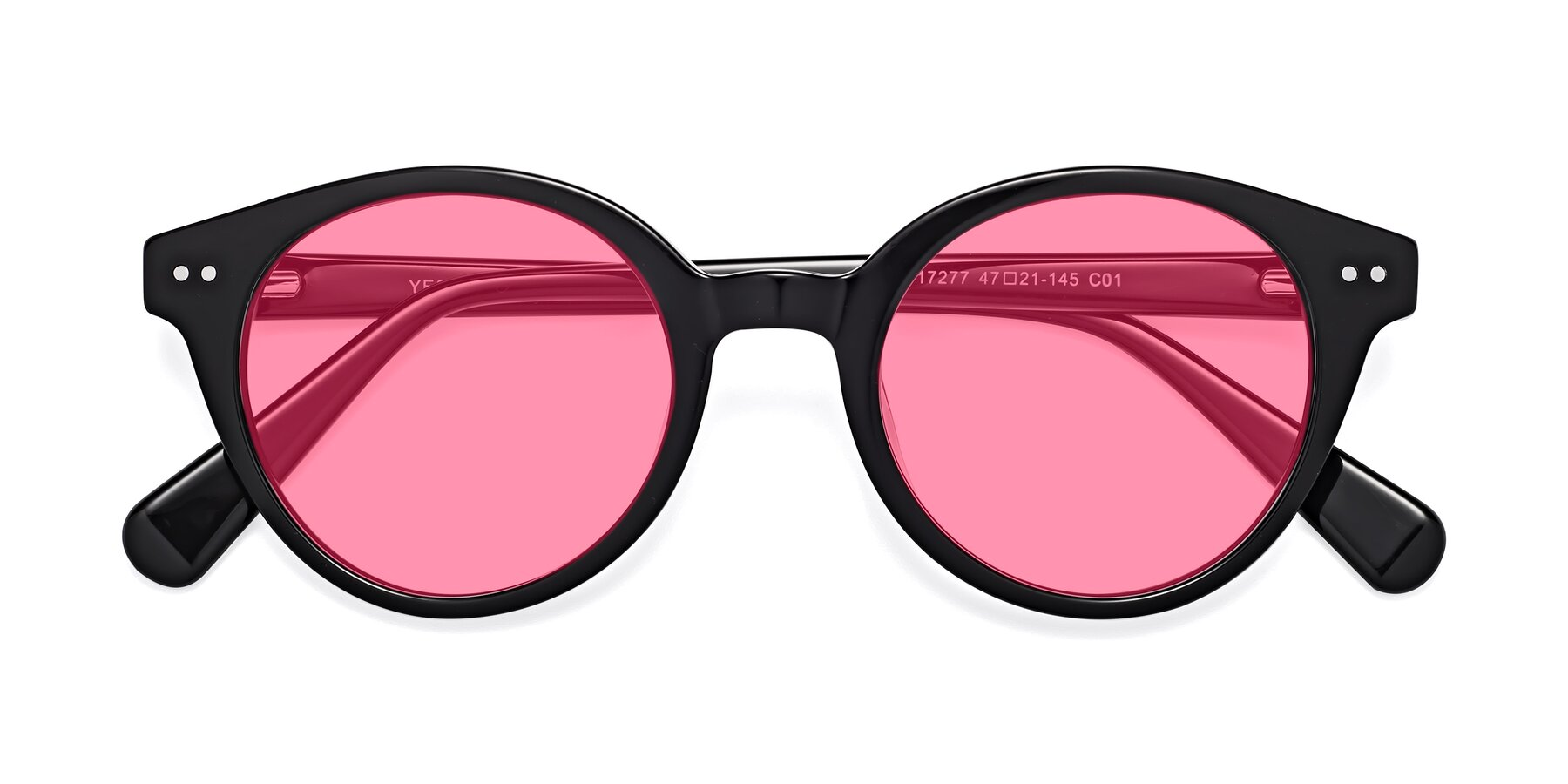 Folded Front of 17277 in Black with Pink Tinted Lenses