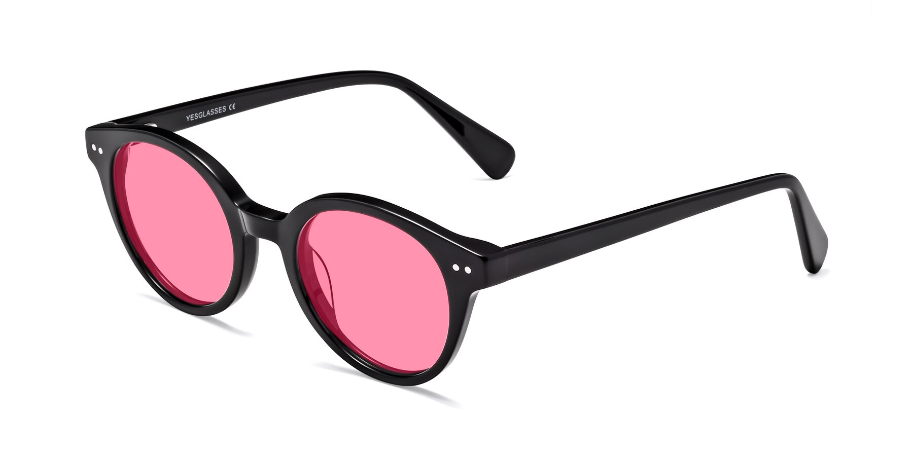 Angle of 17277 in Black with Pink Tinted Lenses