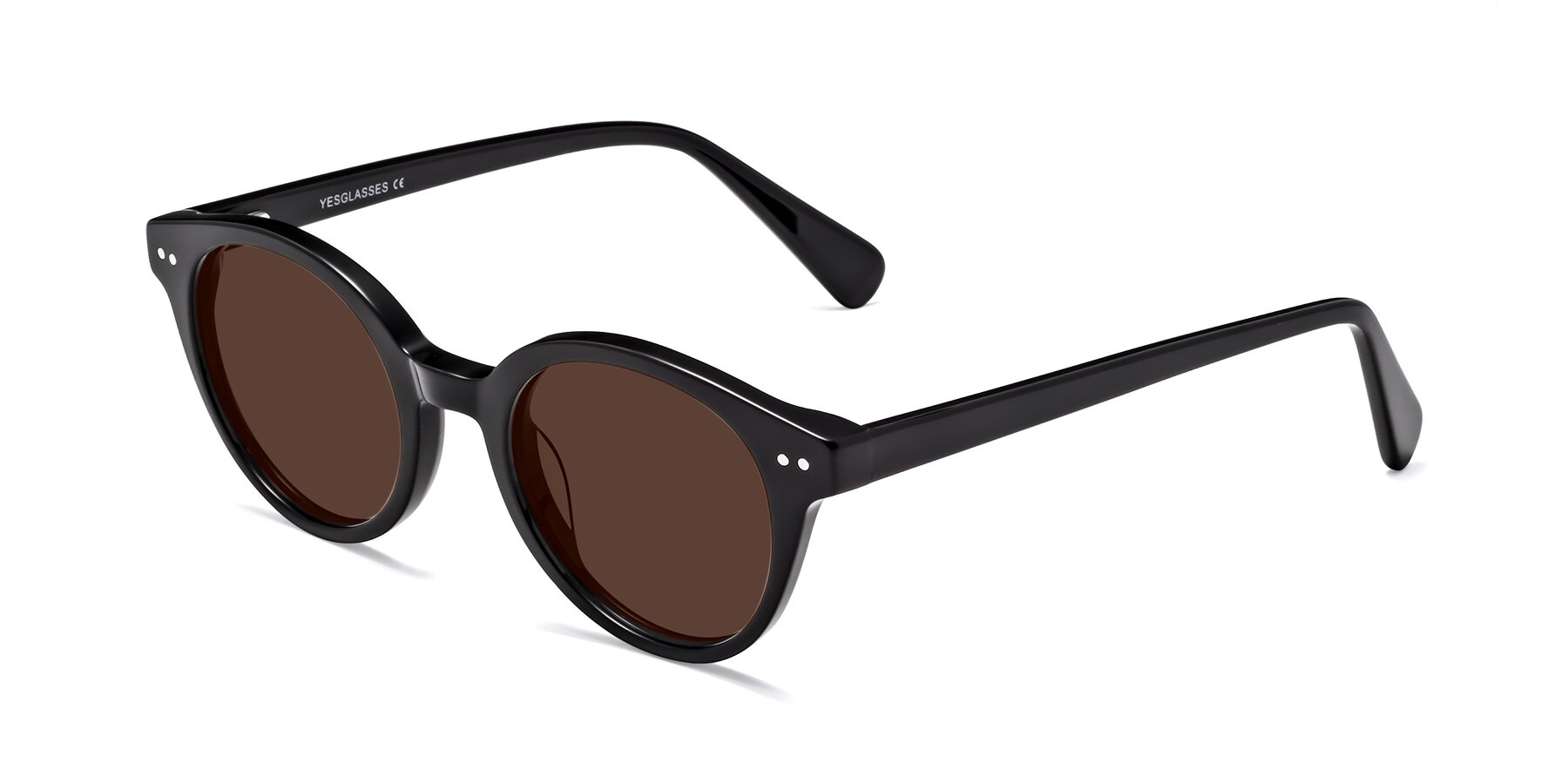 Angle of 17277 in Black with Brown Tinted Lenses