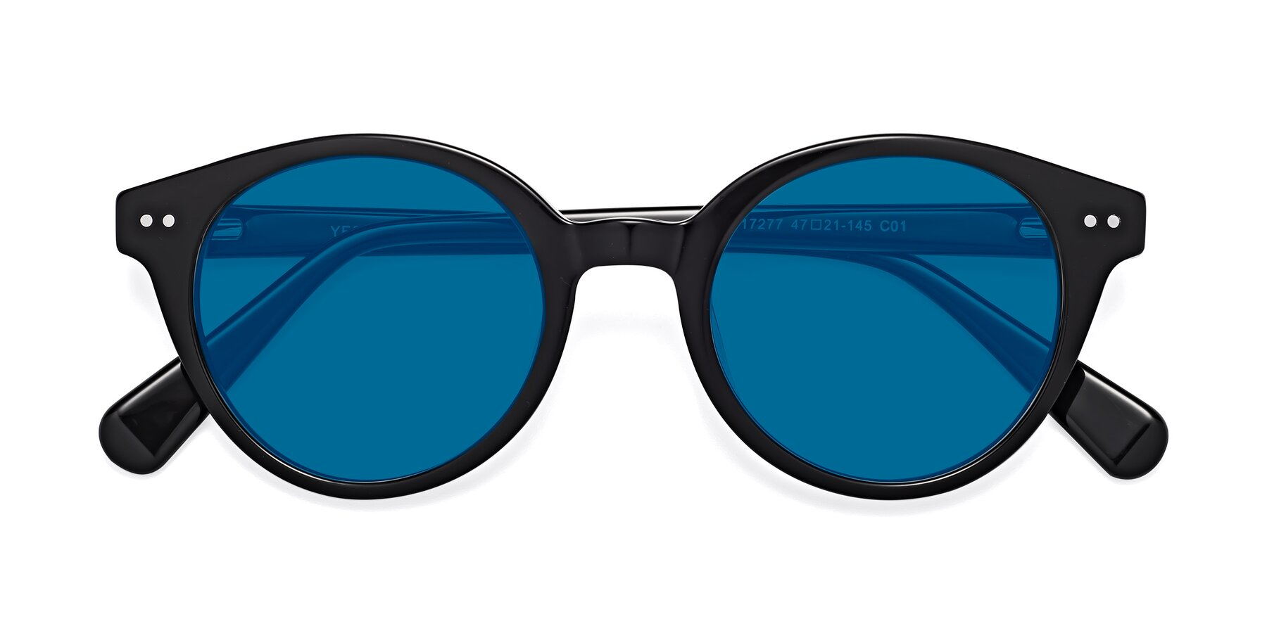 Folded Front of 17277 in Black with Blue Tinted Lenses