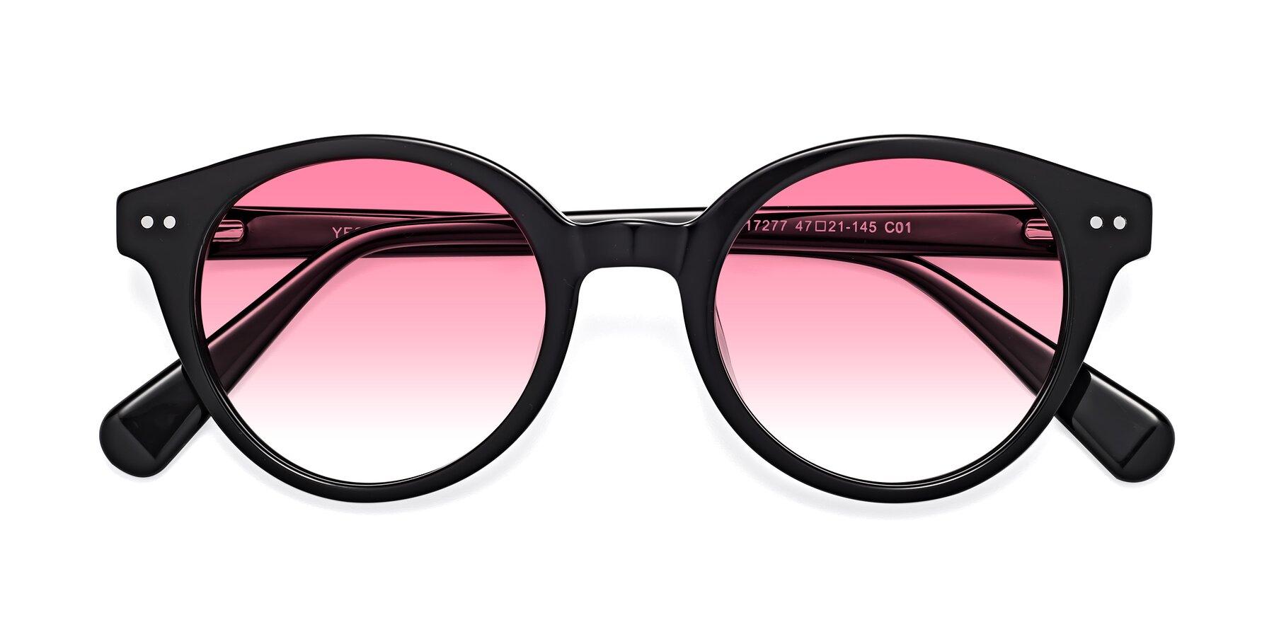 Folded Front of 17277 in Black with Pink Gradient Lenses