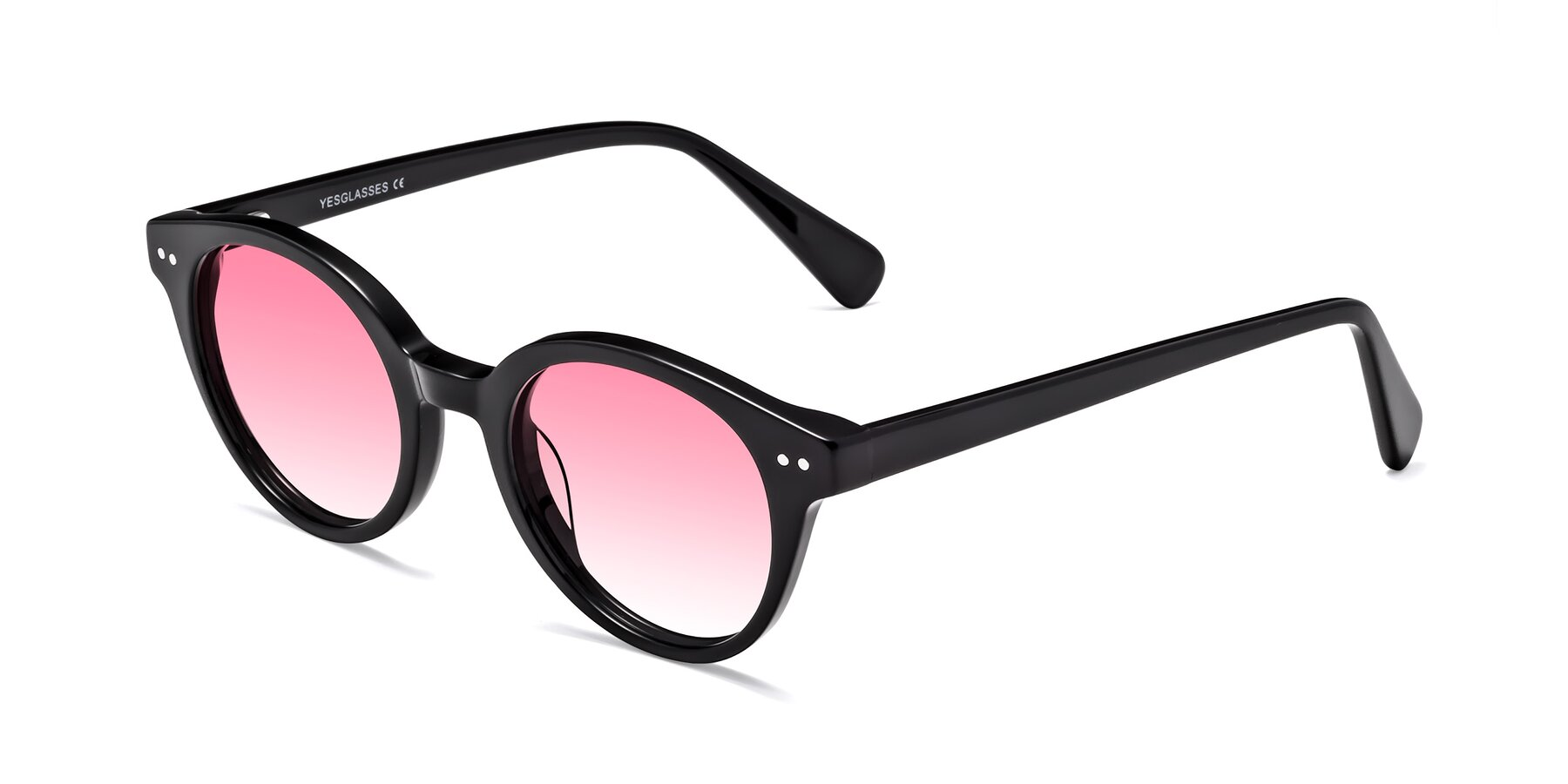 Angle of 17277 in Black with Pink Gradient Lenses