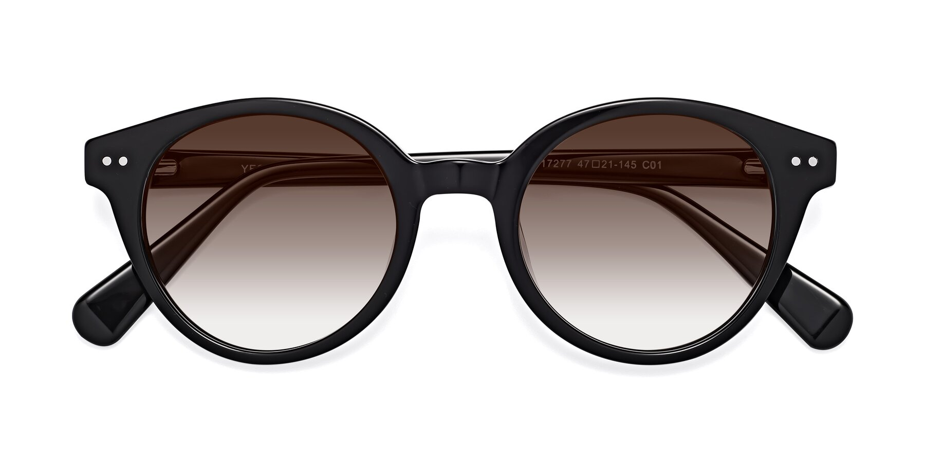 Folded Front of 17277 in Black with Brown Gradient Lenses