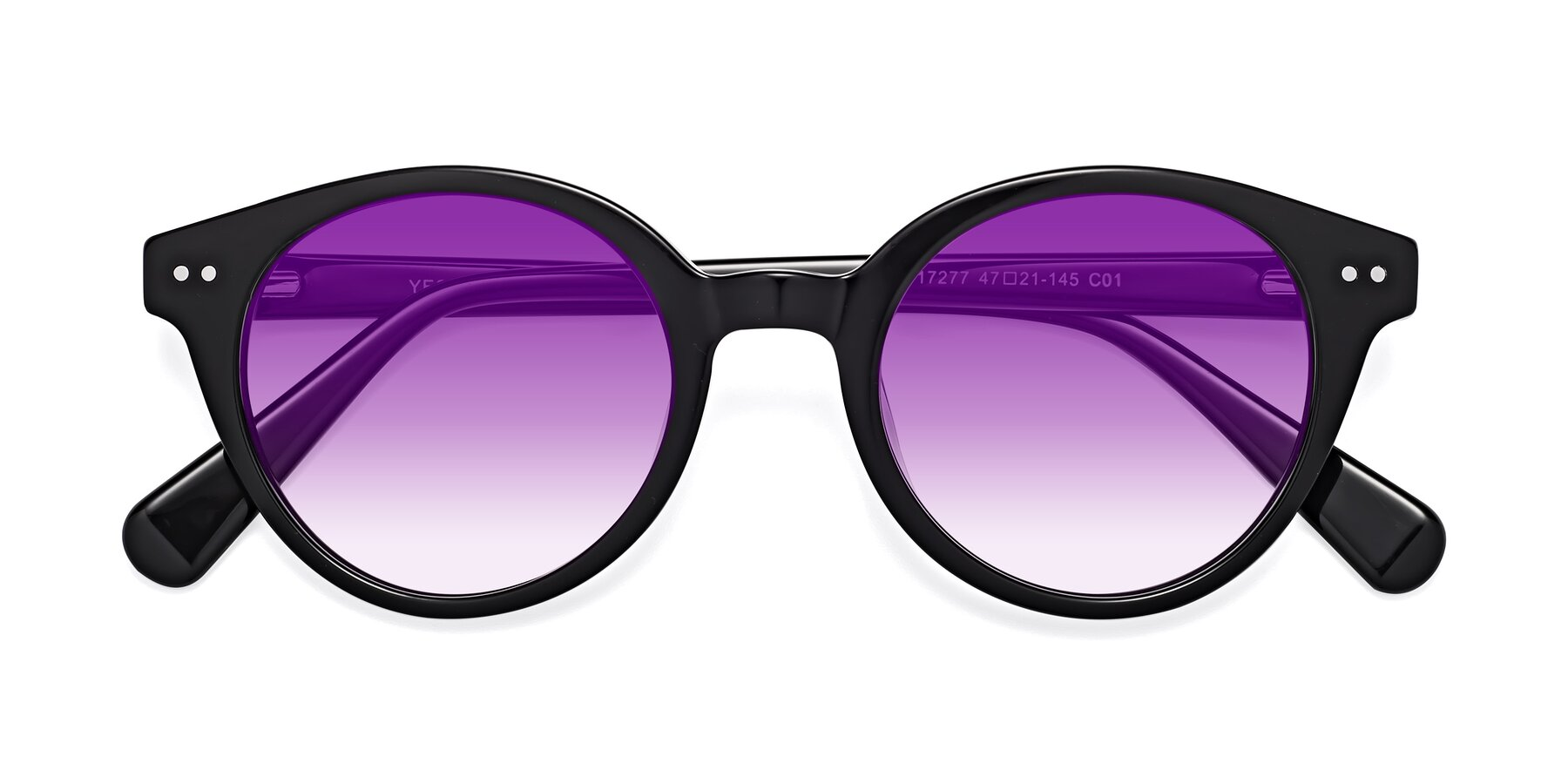 Folded Front of 17277 in Black with Purple Gradient Lenses