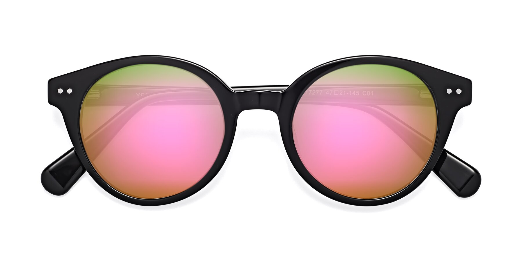 Folded Front of 17277 in Black with Pink Mirrored Lenses