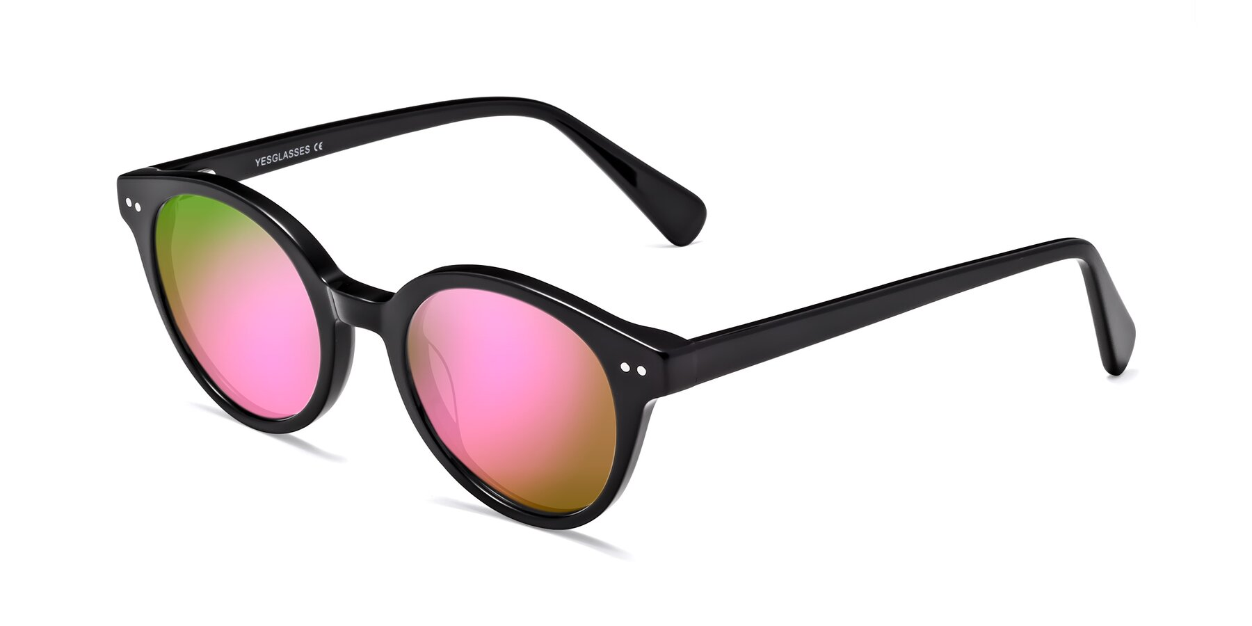 Angle of 17277 in Black with Pink Mirrored Lenses