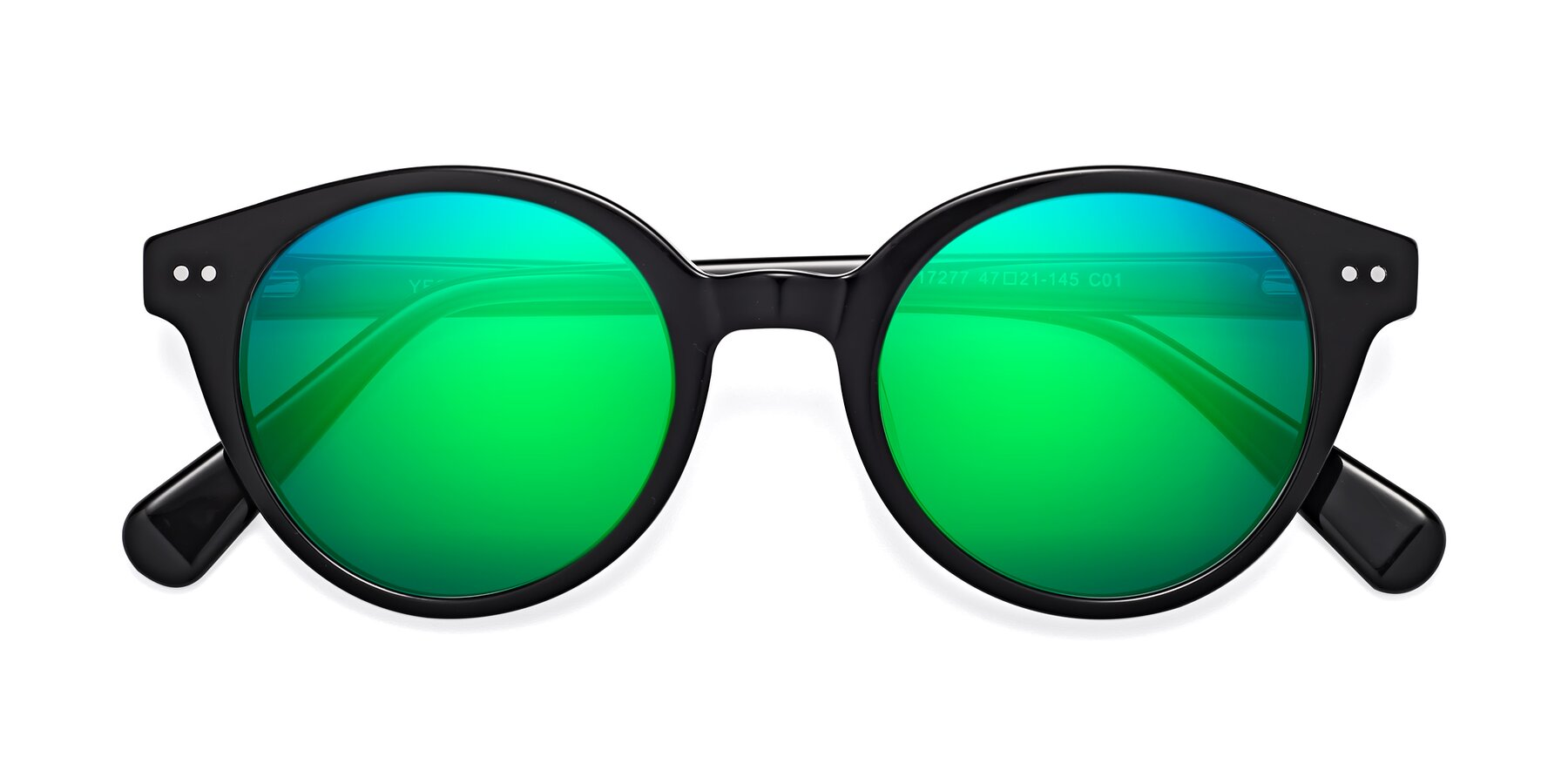 Folded Front of 17277 in Black with Green Mirrored Lenses