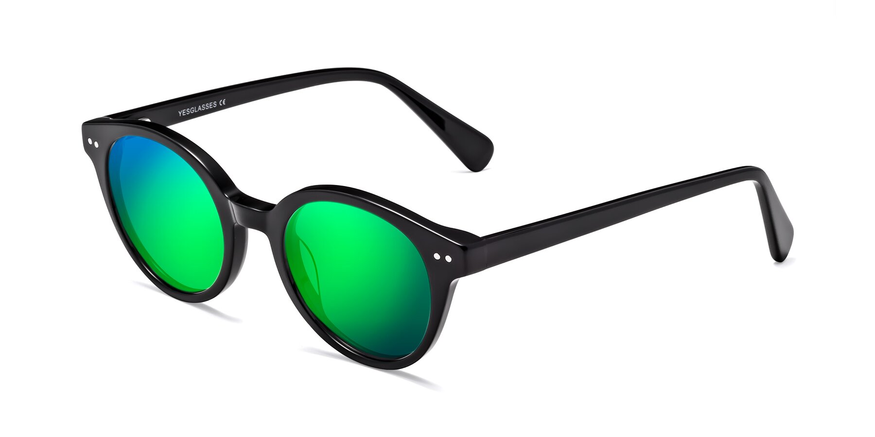 Angle of 17277 in Black with Green Mirrored Lenses