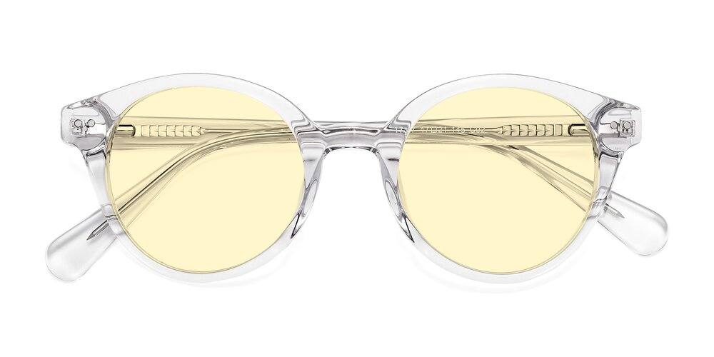 Clear Narrow Horn-Rimmed Round Tinted Sunglasses With Light Yellow Sunwear Lenses