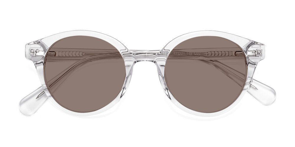 Clear Narrow Horn-Rimmed Round Tinted Sunglasses With Medium Brown Sunwear Lenses