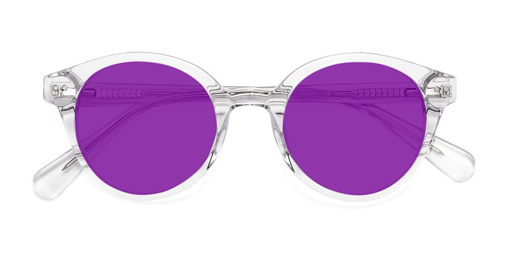 Clear Narrow Horn-Rimmed Round Tinted Sunglasses With Purple Sunwear Lenses