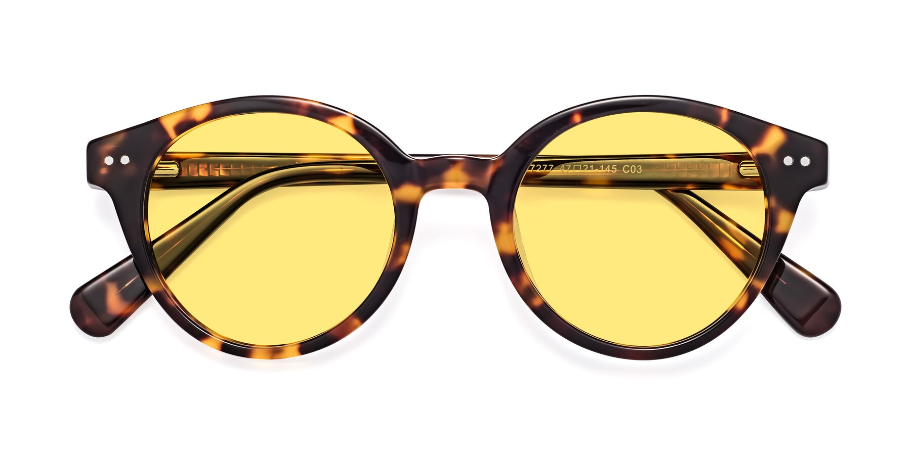 Folded Front of 17277 in Tortoise with Medium Yellow Tinted Lenses
