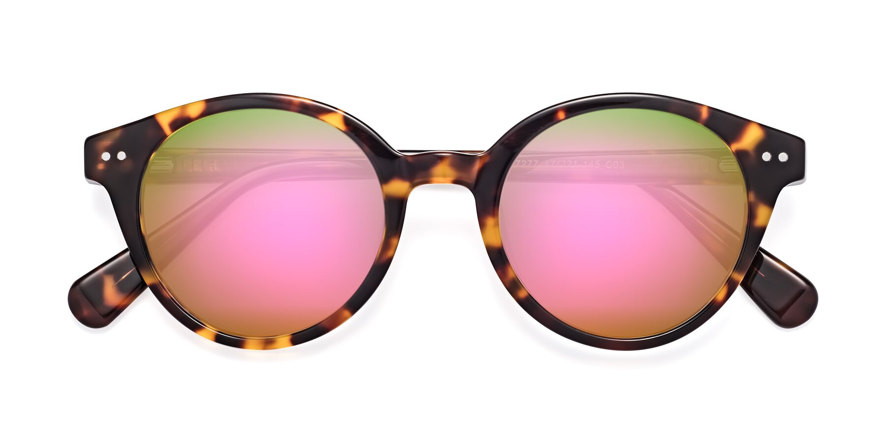 Folded Front of 17277 in Tortoise with Pink Mirrored Lenses