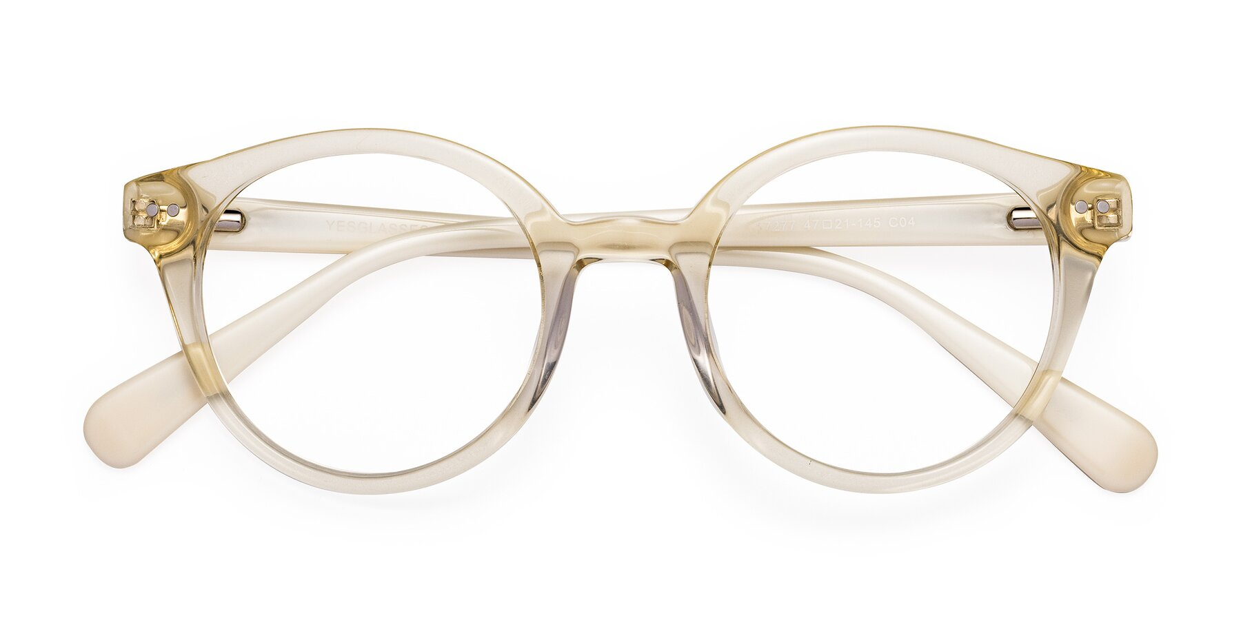 Folded Front of 17277 in Transparent Beige with Clear Blue Light Blocking Lenses