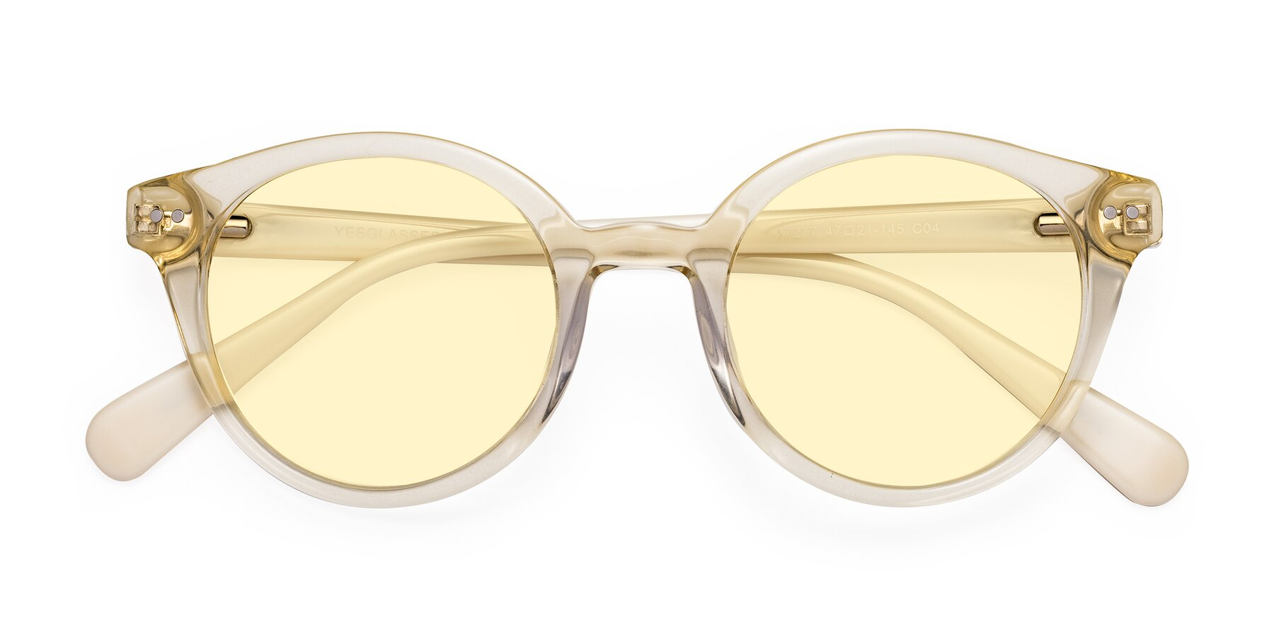 Folded Front of 17277 in Transparent Beige with Light Yellow Tinted Lenses