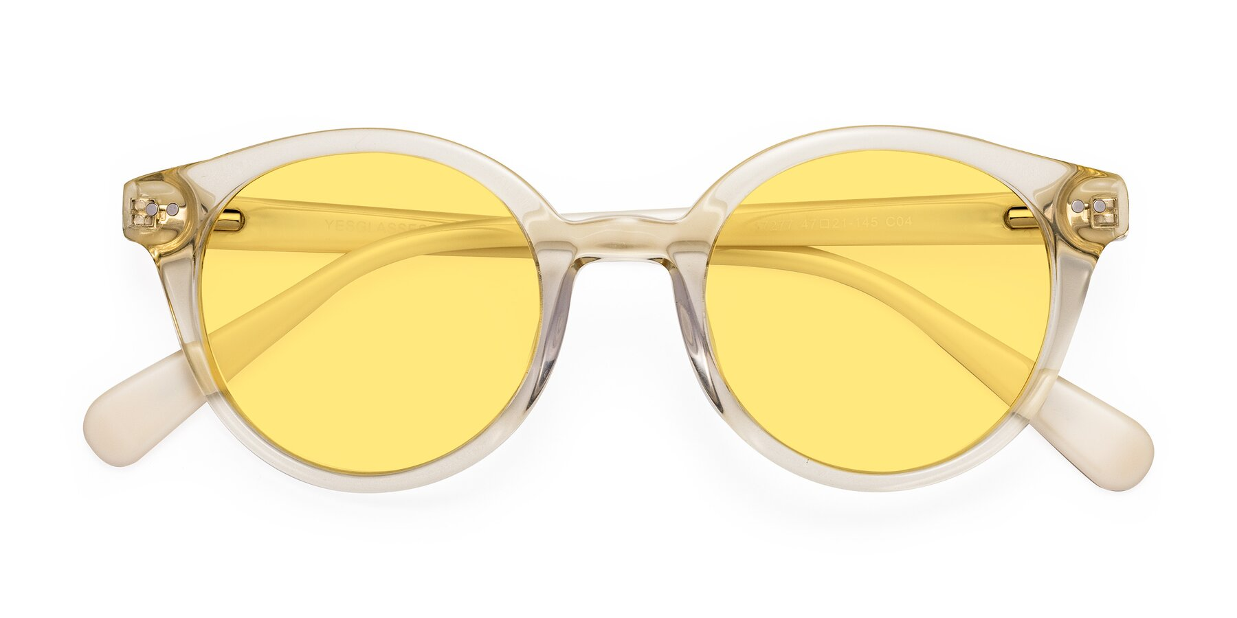 Folded Front of 17277 in Transparent Beige with Medium Yellow Tinted Lenses